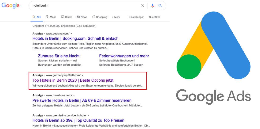 Google Ads Beispiel Hotel Berlin